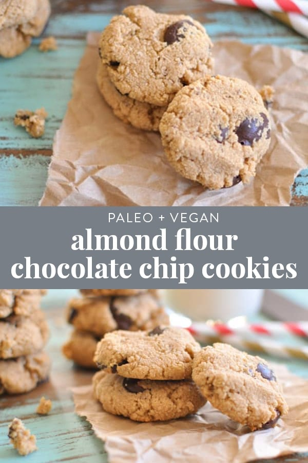 These little almond flour Paleo chocolate chip cookies are perfect for when you want a little bite of something sweet without overdoing it. I give you fair warning though - once you starting eating them, its hard to eat just one! Grain free and vegan. #paleo #cookies #dessert #healthy #grainfree #glutenfree #vegan #healthy #chocolate