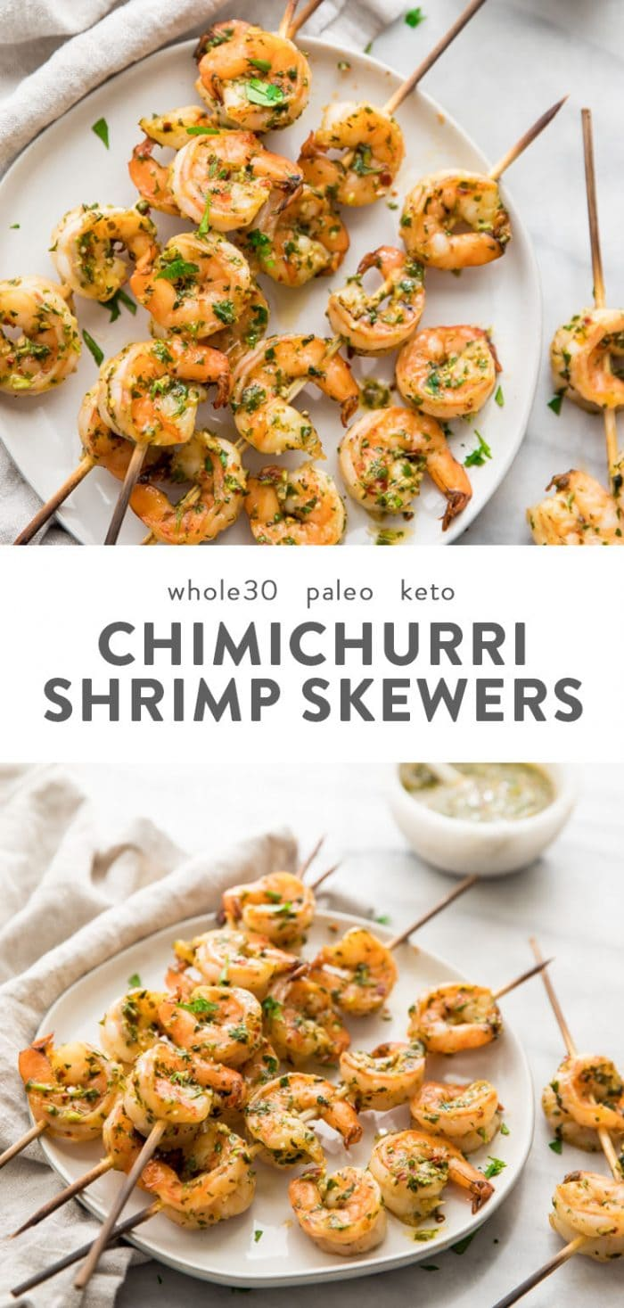 Quick chimichurri shrimp skewers (Whole30, keto) on a plate with text overlay