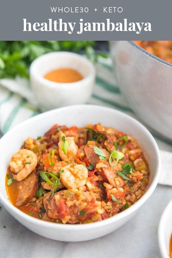 Healthy Jambalaya Recipe (Whole30, Paleo, Low Carb, Keto) Pinterest image