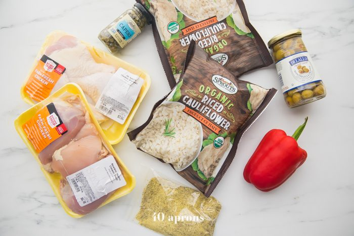 Healthy Spanish chicken and rice stew ingredients