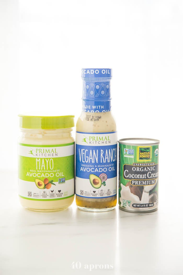 Whole30 mayonnaise, Whole30 ranch dressing, and coconut cream from Thrive Market