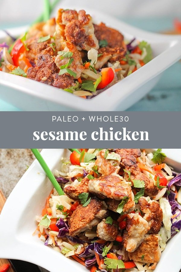 This Paleo Sesame Chicken recipe is a healthy version of a classic Chinese takeout meal with minimal effort! Tender pieces of chicken fried in a crunchy sesame coating and slathered in a sweet and tangy sauce...what's not to love?! #paleo #whole30 #asian #takeout #chinese #sesame #healthy #dinner #recipe
