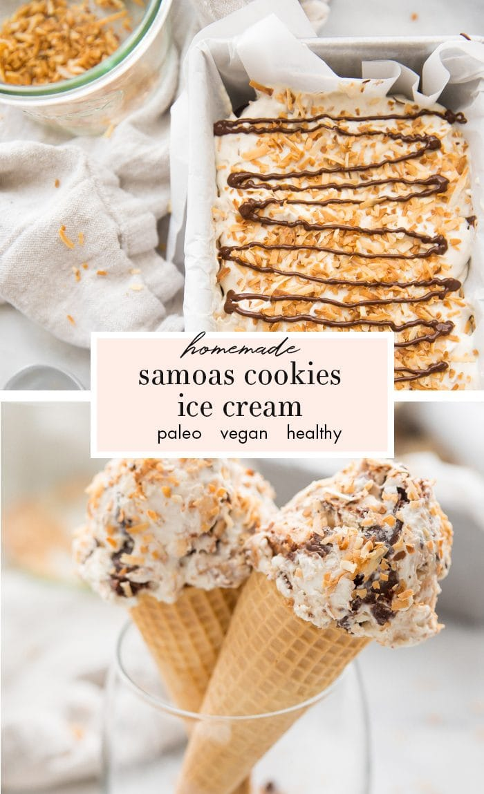 Samoas cookies ice cream in two cones in a glass with ice cream container in the background