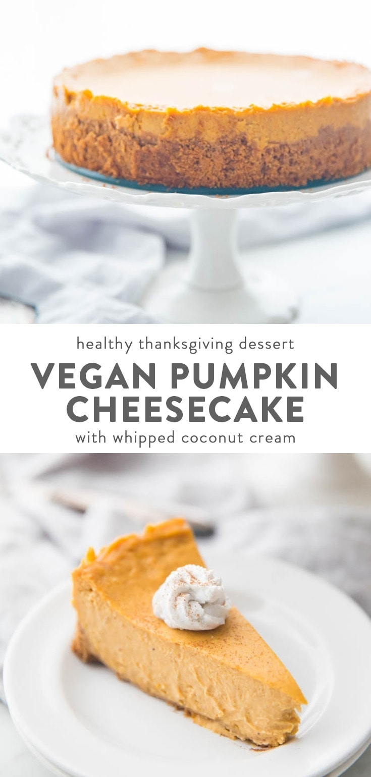Vegan pumpkin cheesecake with whipped coconut cream on a plate with a fork cutting into it
