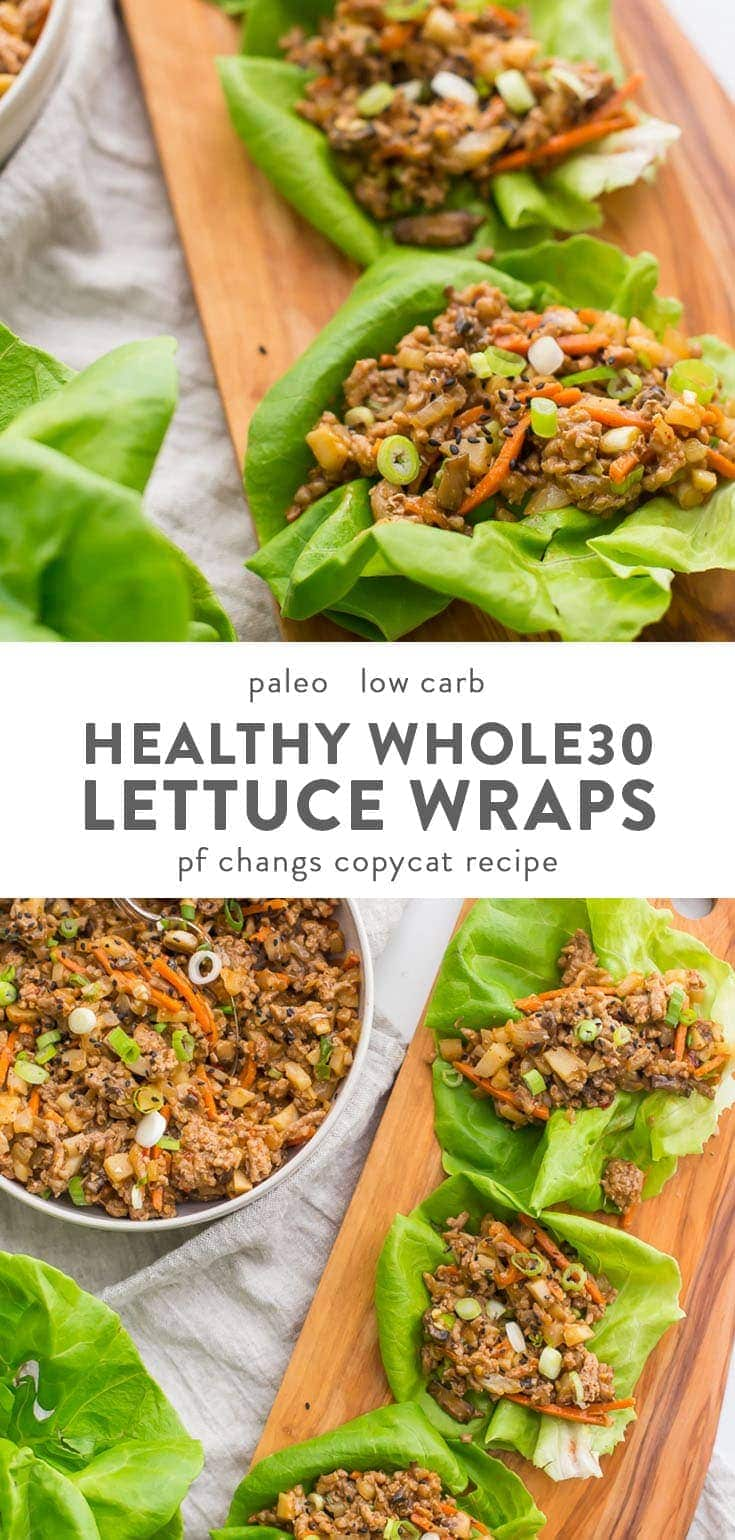 These healthy lettuce wraps are inspired by the PF Changs recipe but are totally Whole30 compliant and paleo. Loaded with flavor and with lots of veggies, these healthy Asian lettuce wraps are made with pork or chicken and are a great, easy Whole30 dinner recipe. They're filling yet light, totally healthy, and slightly sweet yet nutty and spicy.#whole30 #cleaneating
