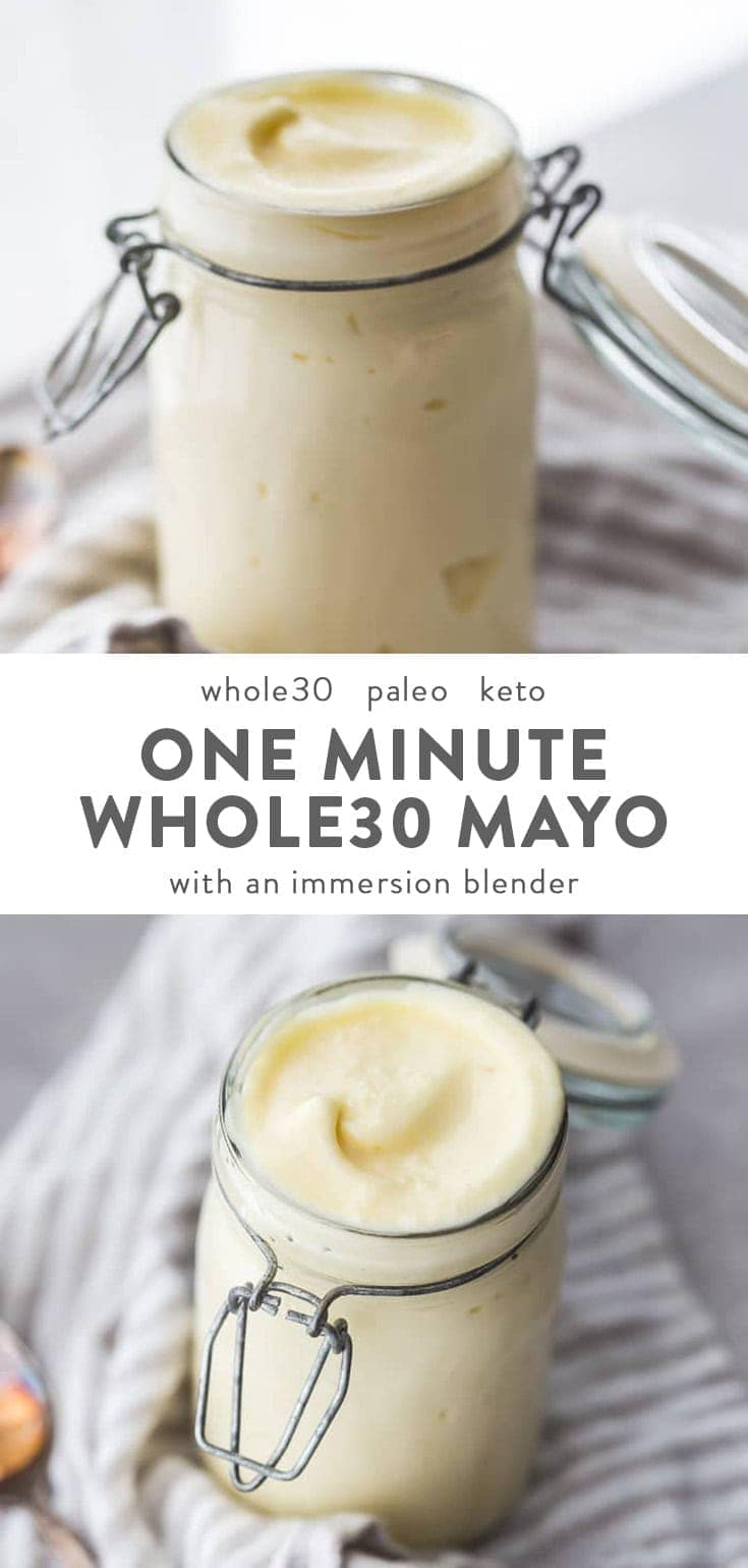 a jar of Whole30 mayo made with an immersion blender.