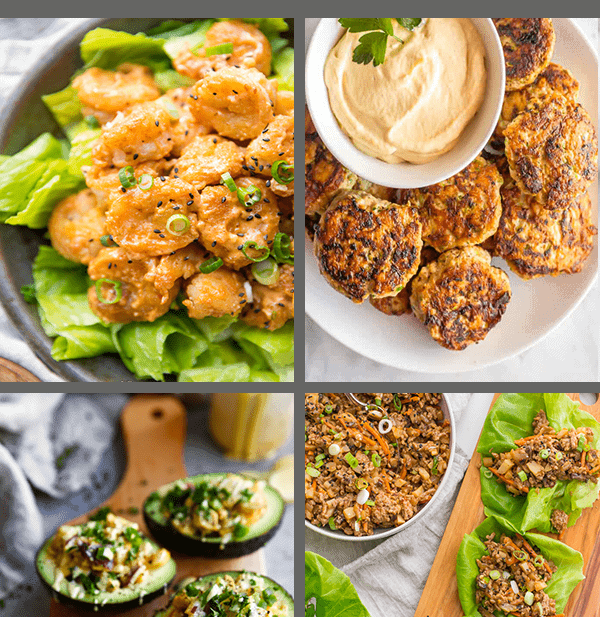 whole30 lunch ideas lettuce wraps chicken fritters chicken salad and shrimp