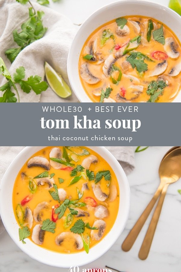Tom kha soup recipe Pinterest image with text overlay