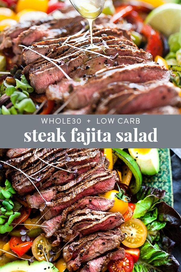 Whole30 Fajita salad with steak Pinterest image