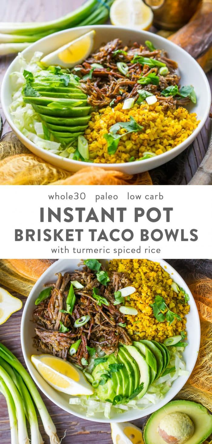 Instant pot brisket taco bowls with spiced rice and avocado in a white bowl on a wood table.