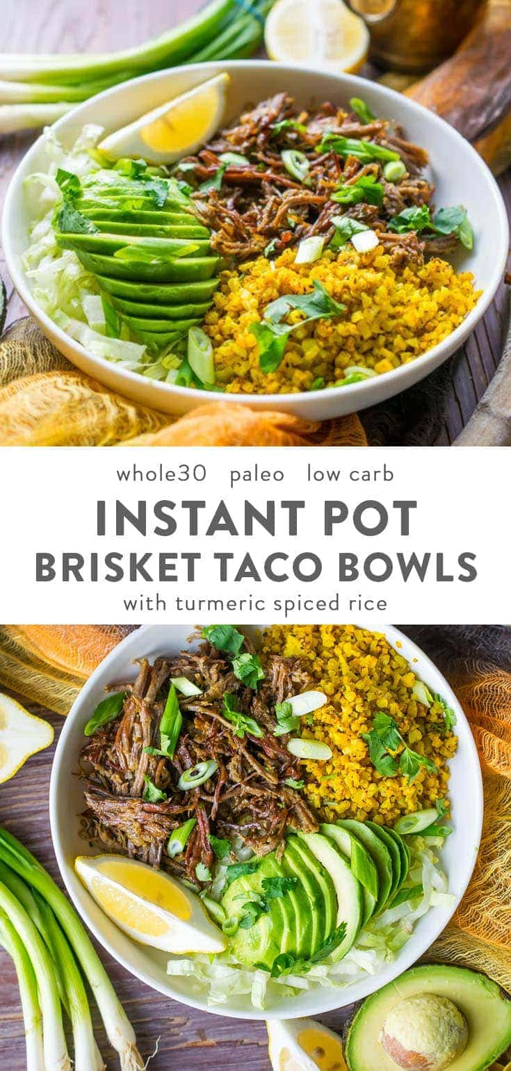 These Whole30 brisket bowls are crazy packet with flavor and made super easily in the Instant Pot. With cauliflower rice and avocado. Low carb & paleo, too. #whole30 #instantpot