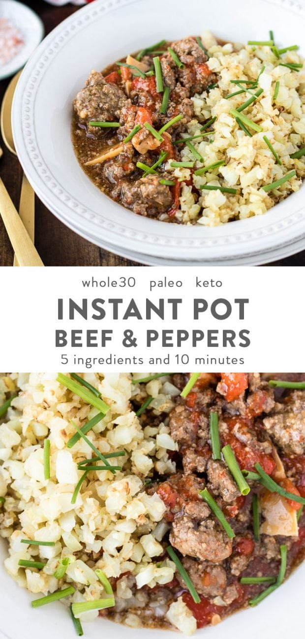 A white bowl of instant pot beef with peppers over cauliflower rice.