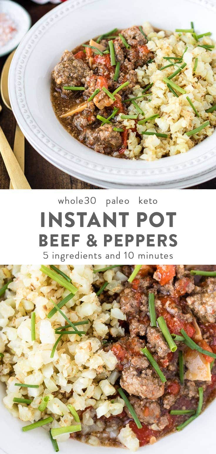 This Whole30 Instant Pot beef with peppers can be whipped up within 10 minutes and using only 5 ingredients. A healthy, simple paleo dinner recipe that is also gluten- and dairy-free.#keto #whole30