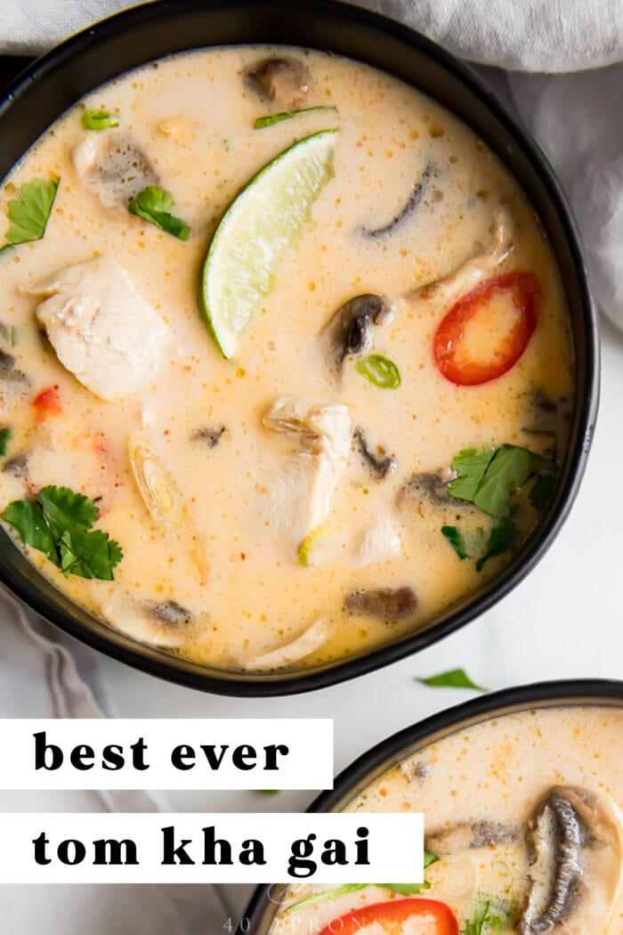 Pin graphic for tom kha soup