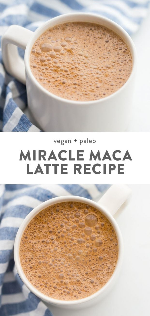Miracle maca latte (vegan and paleo) in a mug