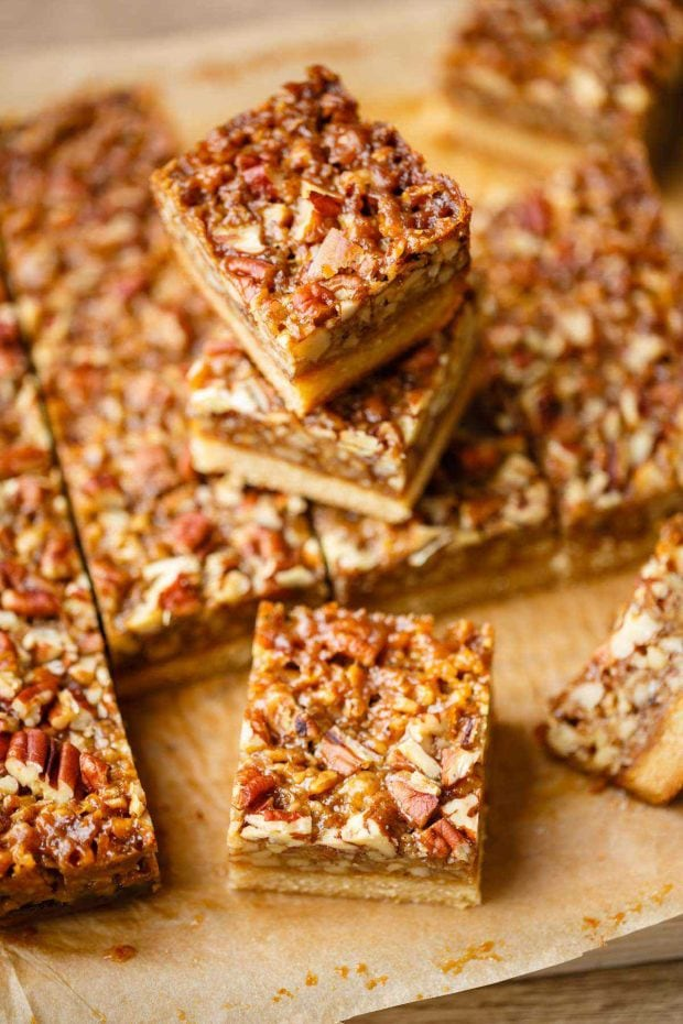 Healthy Christmas Treats Roundup Image of Paleo Pecan Bars from Paleo Grubs