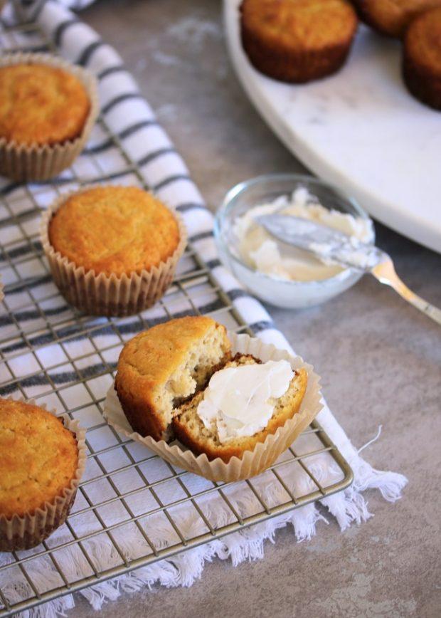 Paleo Cornbread Muffins on a cooling rack