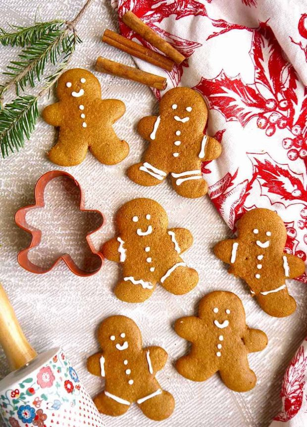 Healthy Christmas Treats Roundup Image of Paleo Almond Flour Gingerbread Men Cookies from Perchance to Cook