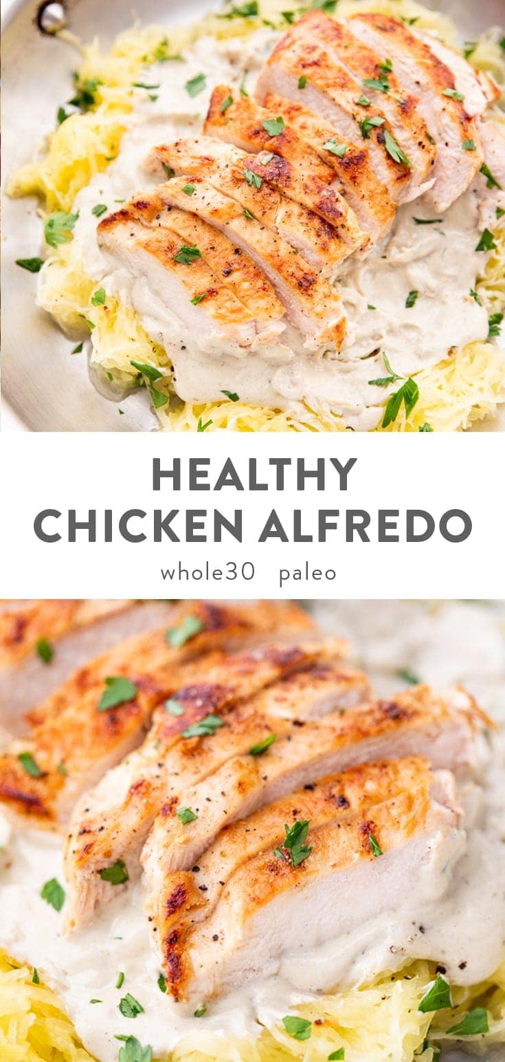 A rich and creamy chicken alfredo that's super healthy! Quick and easy to throw together, this healthy chicken alfredo recipe uses a dairy-free cashew alfredo sauce and spaghetti squash