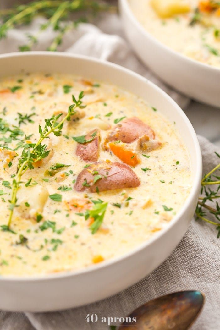 Instant Pot healthy chicken pot pie in a bowl garnished with parsley
