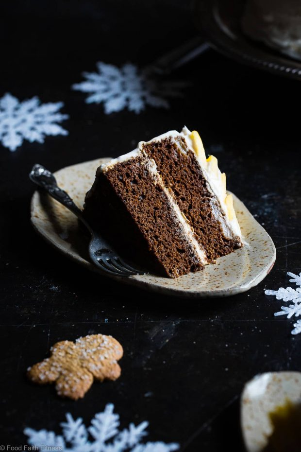 Healthy Christmas Treats Roundup Image of Mango Gluten Free Gingerbread Cake from Food Faith Fitness