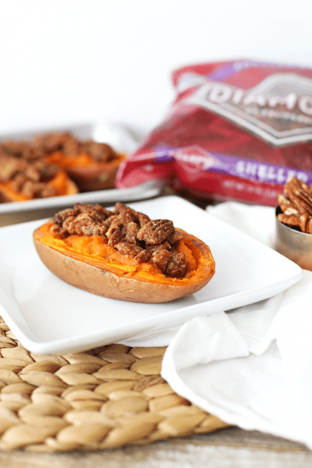Maple Pecan Twice Baked Sweet Potatoes on a white plate