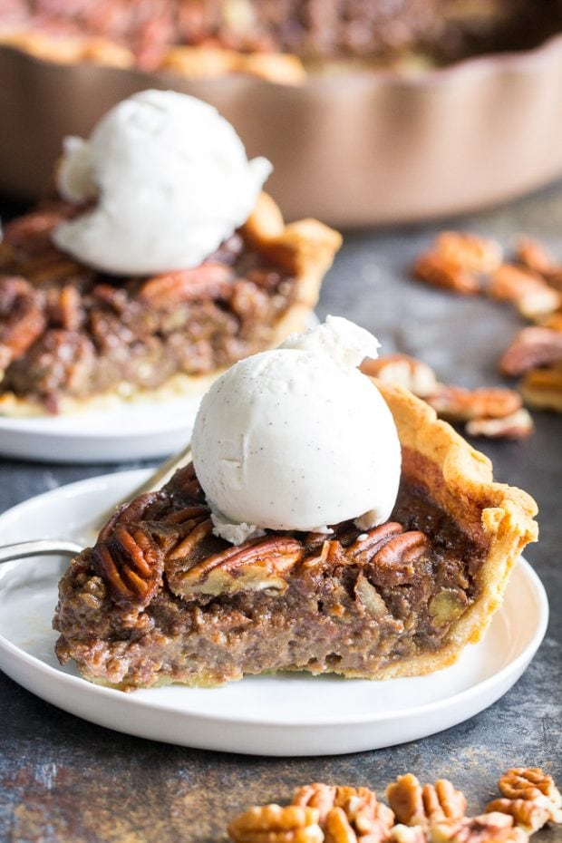 Healthy Christmas Treats Roundup Image of Paleo Salted Caramel Pecan Pie from Paleo Running Momma