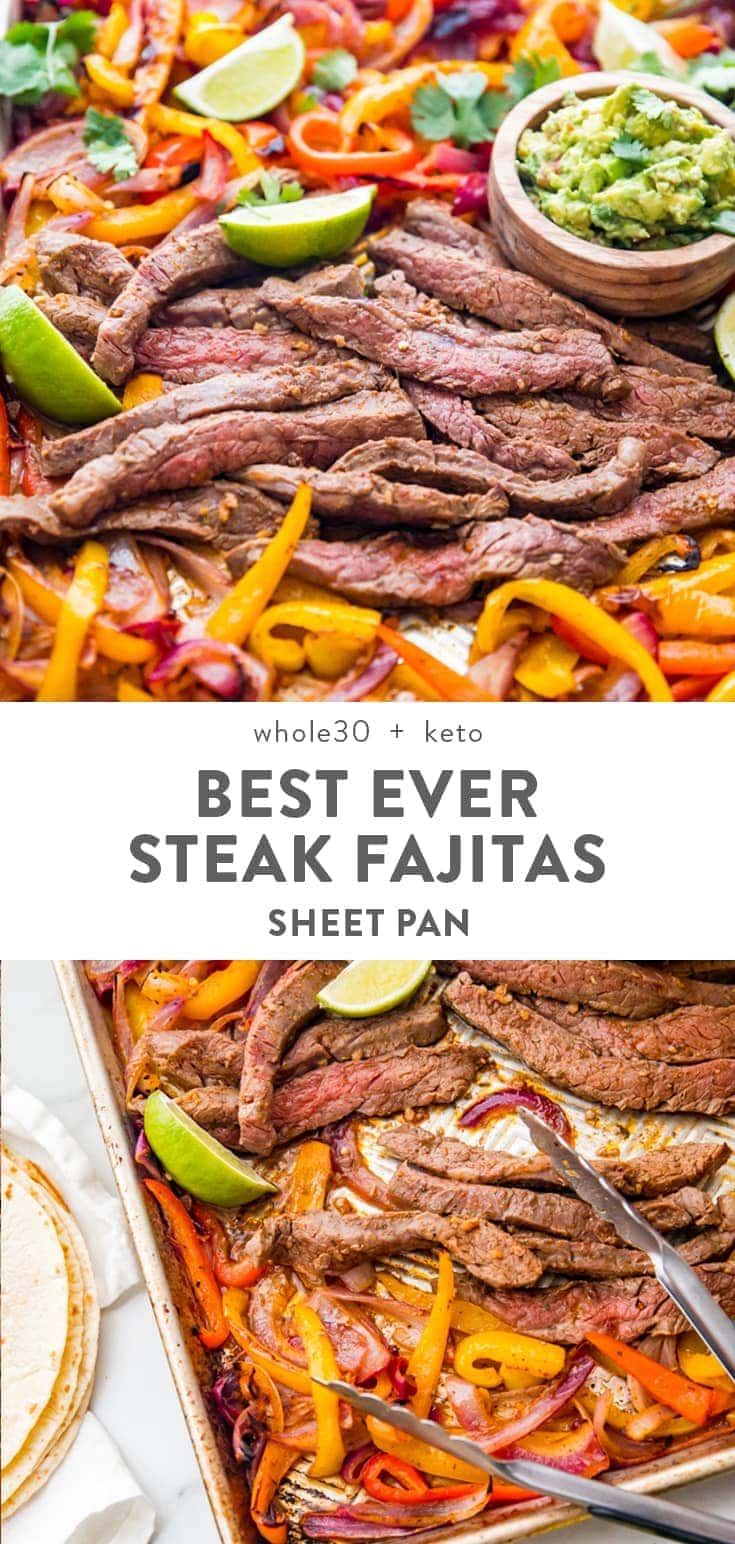These are seriously the best sheet pan fajitas with steak ever! They're insanely quick and easy, made in less than 20 minutes, and they're the best beef fajitas I've ever had. Absolutely perfect for meal prep, too (and Whole 30 compliant!). With a quick guacamole and made with flank steak, you can serve them in lettuce cups for a Whole30, keto, low carb, or paleo option, or in regular tortillas. #mexican #healthy