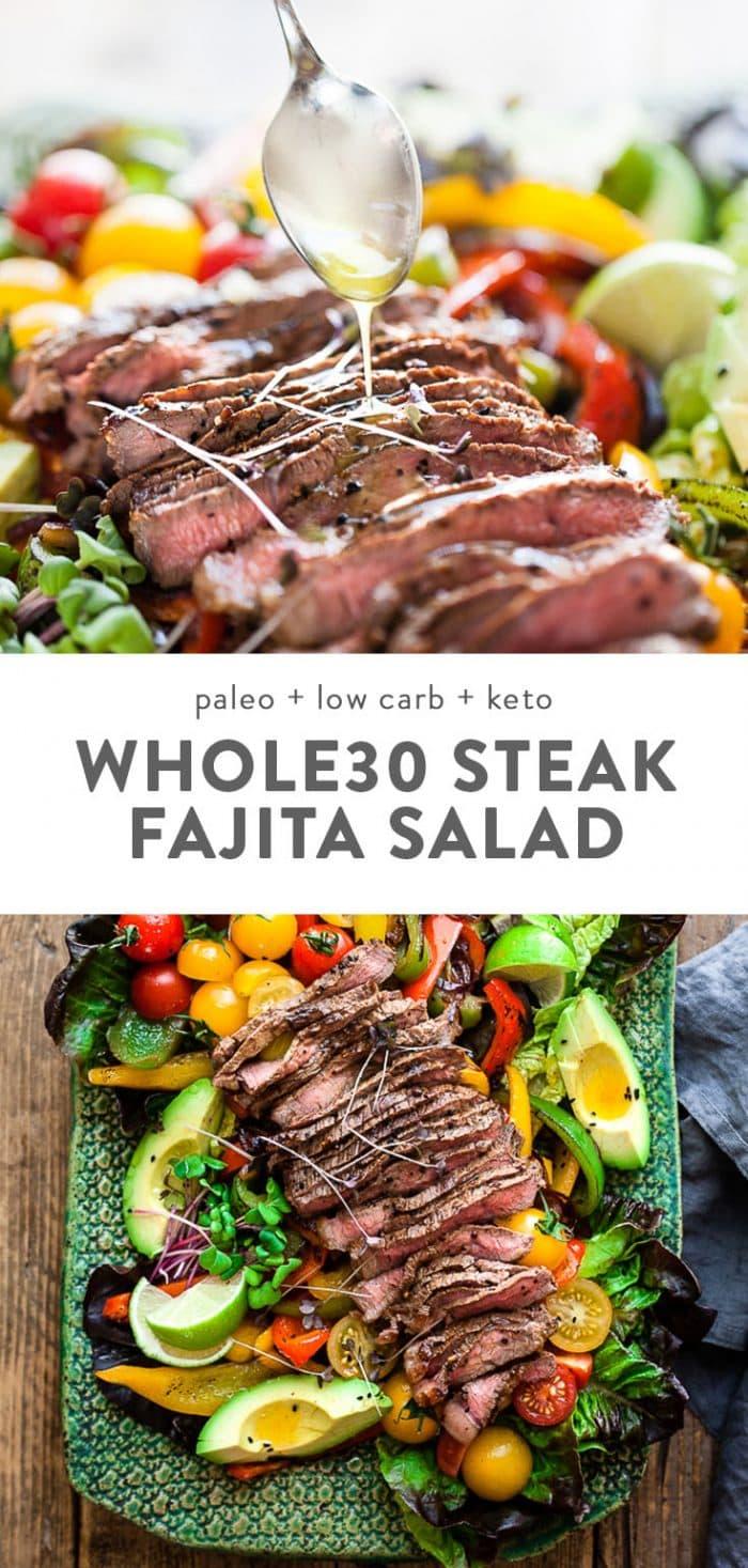 Whole30 steak fajita salad with seared steak, vegetables, avocado, and vinaigrette on a blue platter.