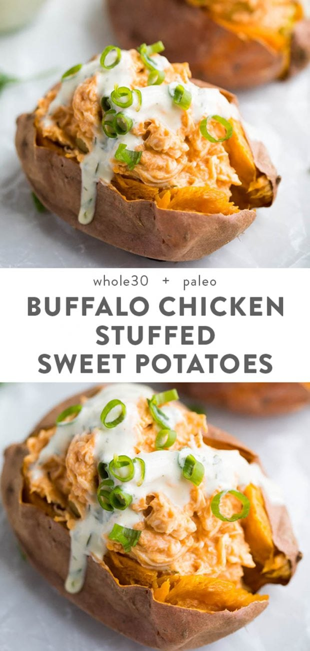 Creamy Buffalo Chicken Stuffed Sweet Potatoes with Ranch Dressing (Whole30, Paleo) Pinterest image