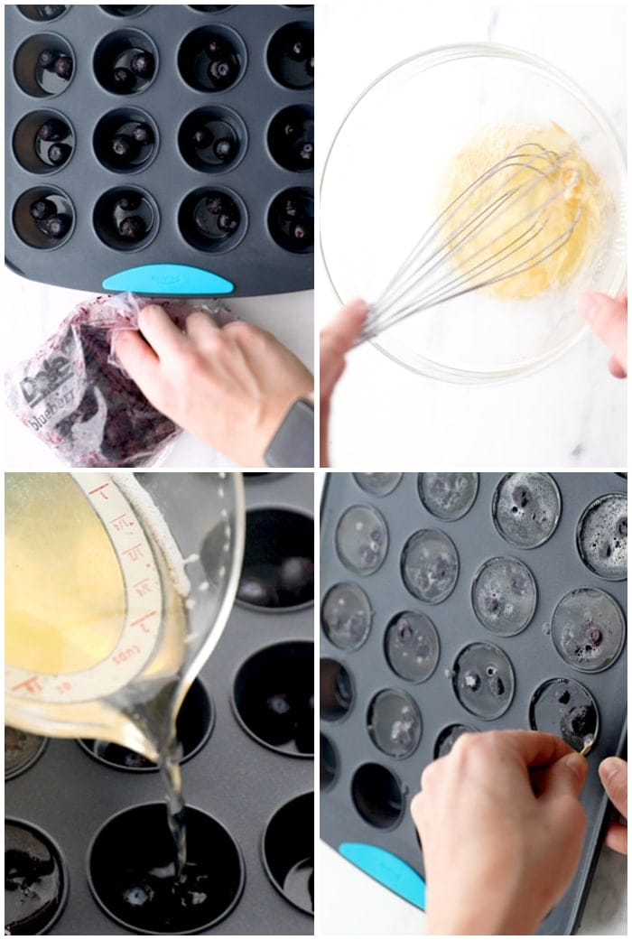 4-step graphic showing how to make champagne jello shots with blueberries