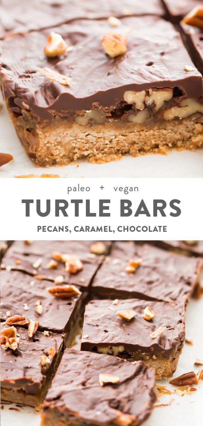 Healthy Turtle Bars (Paleo, Vegan) Pinterest image