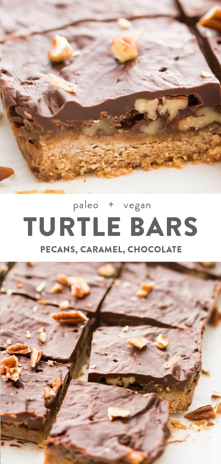 These turtle bars are inexplicably good, layered with a quick crust, topped with pecan halves, covered with an insanely easy caramel made in the microwave, finished off with a dark chocolate layer. Vegan and paleo, this combo of caramel, pecans, and dark chocolate makes these perfect healthy Christmas treats or bars for anytime! #dessert #healthy