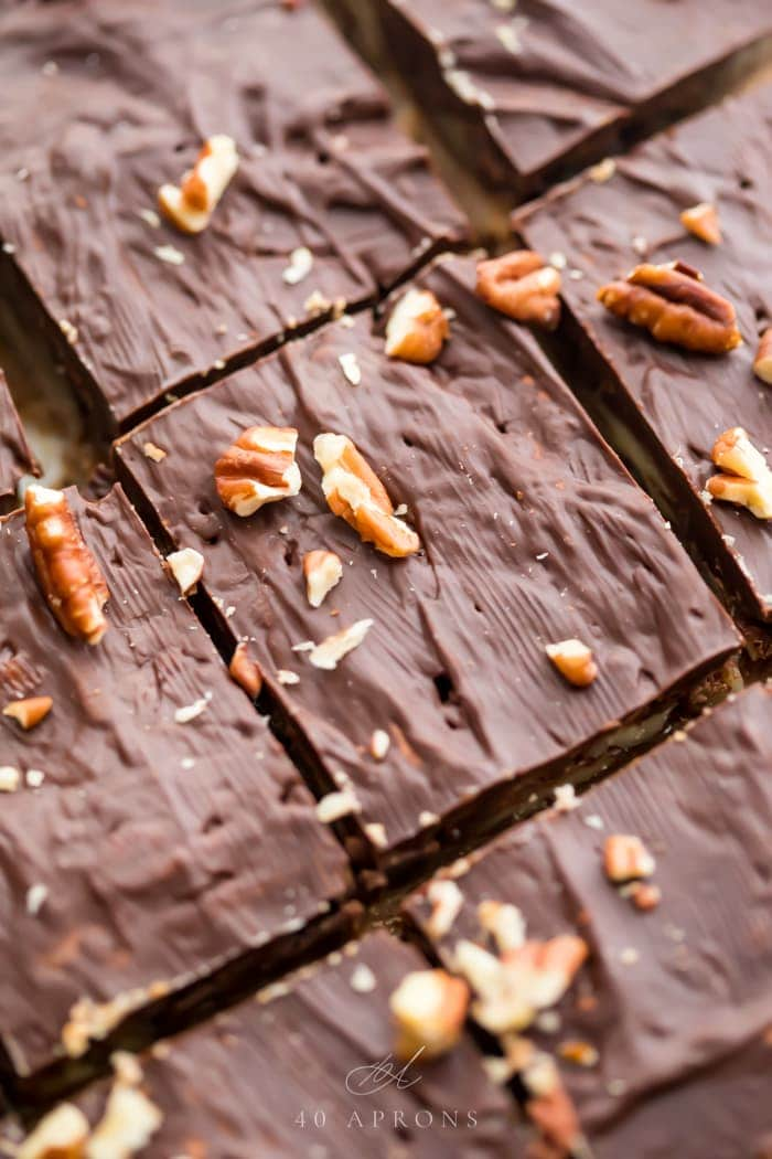 Closeup of healthy paleo and vegan turtle bars on parchment paper