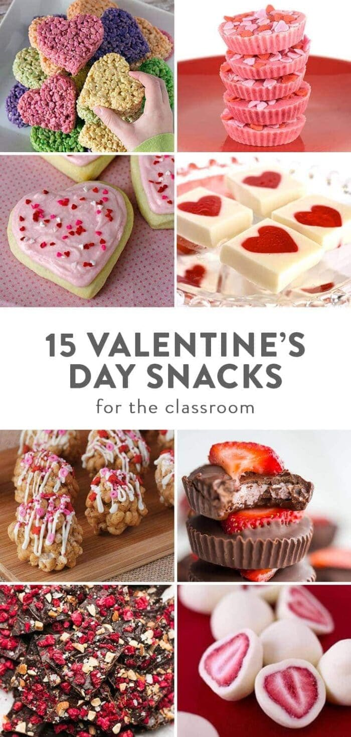 A collage of images depicting kid-friendly Valentine's Day snacks to bring to the classroom for a party.
