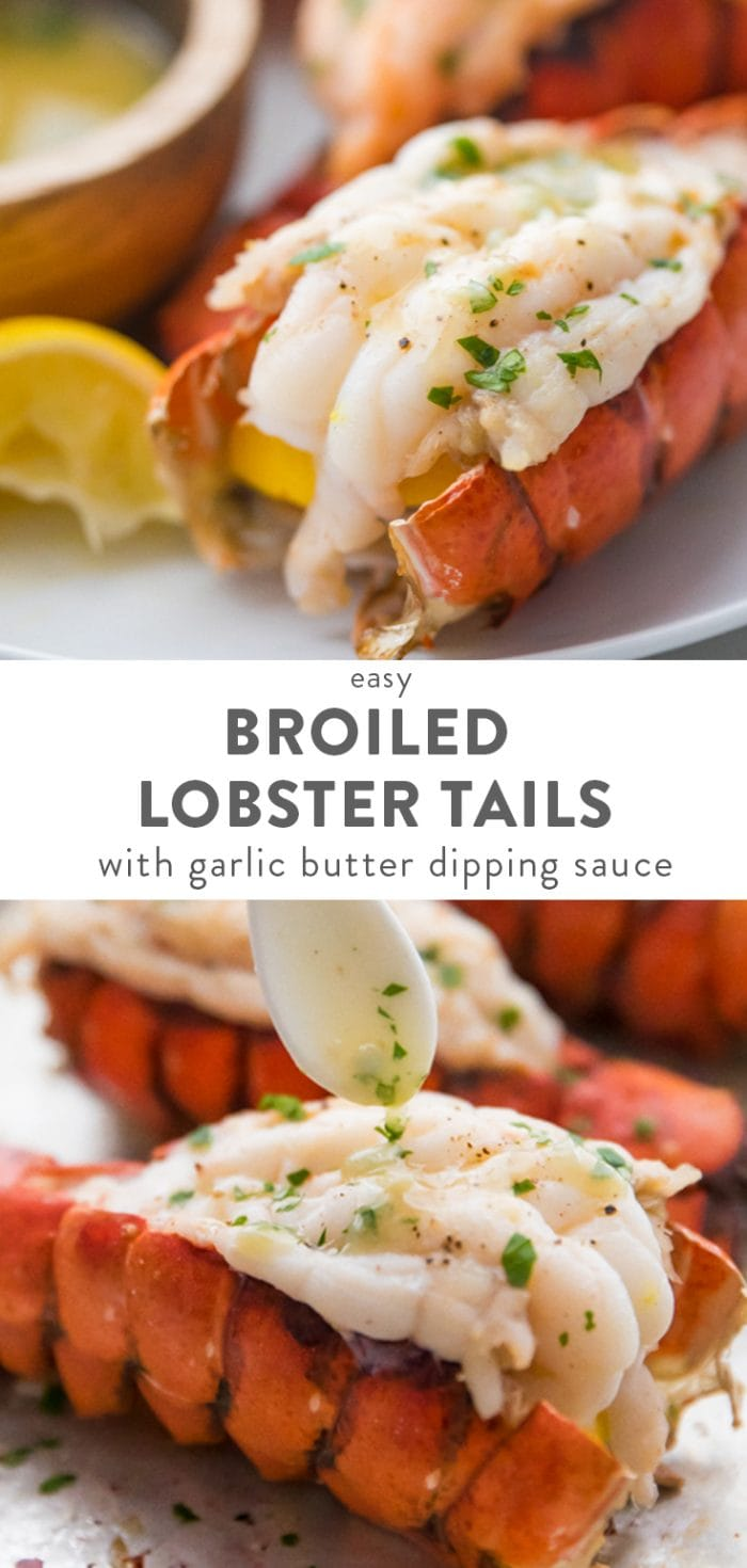 How to Broil Lobster Tails + Garlic Butter Sauce Pinterest image