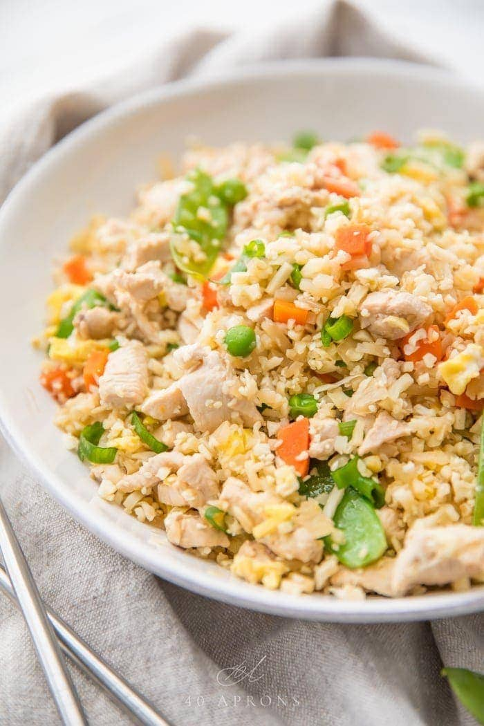 Cauliflower Fried Rice With Chicken Whole30 And Paleo Friendly 40 Aprons
