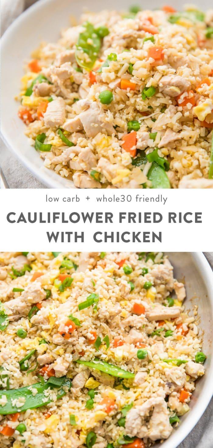Cauliflower Fried Rice with Chicken (Paleo & Whole30 Friendly) Pinterest image