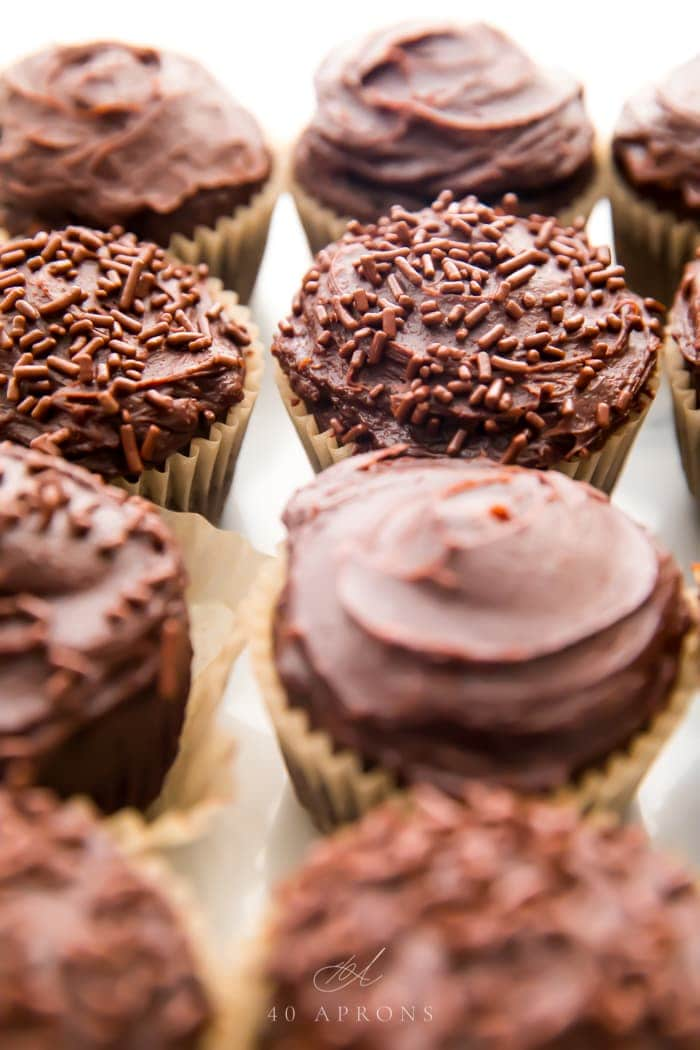 Chocolate paleo cupcakes with dark chocolate frosting close together at an angle