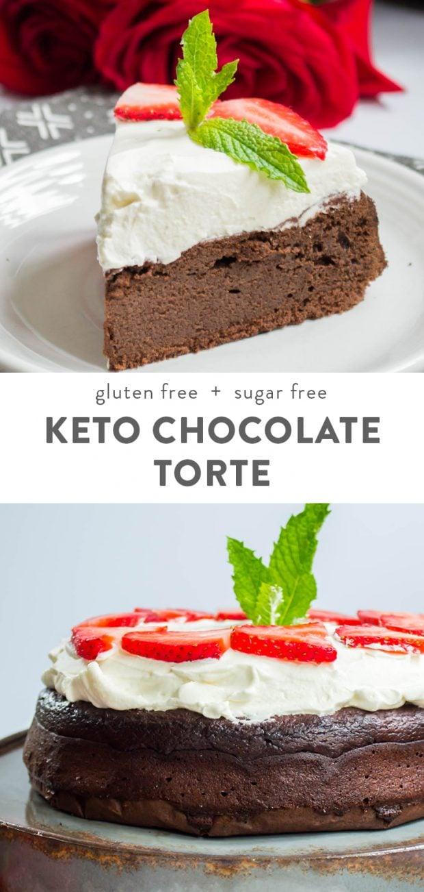 Flourless Keto Chocolate Torte (Gluten Free, Grain Free, Sugar Free) Pinterest image