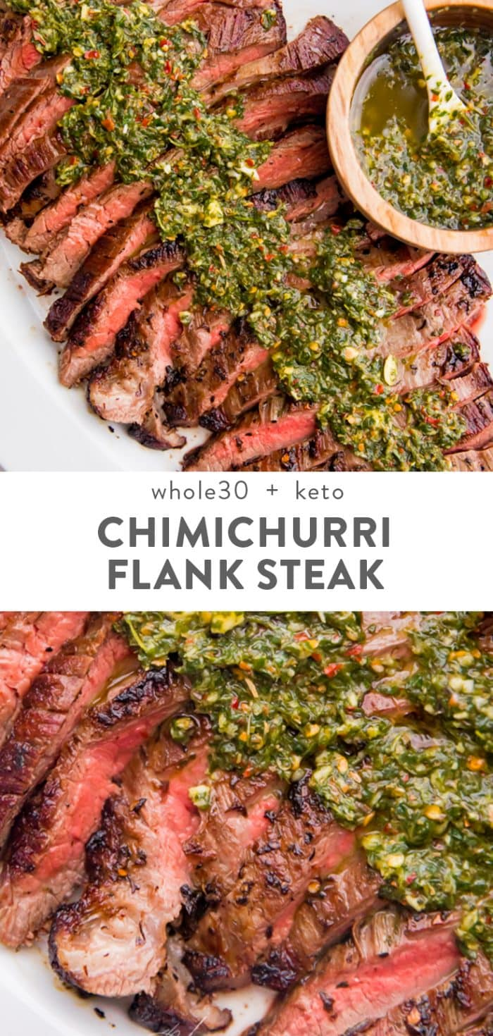 Medium rare flank steak sliced into strips topped with fresh chimichurri sauce