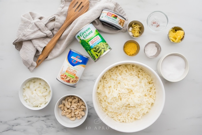 Ingredients for quick Whole30 cauliflower risotto