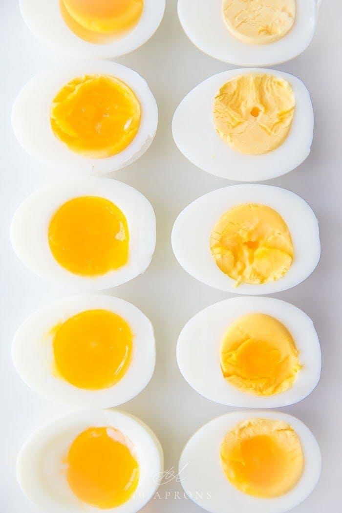 Hard and soft boiled eggs cut in half