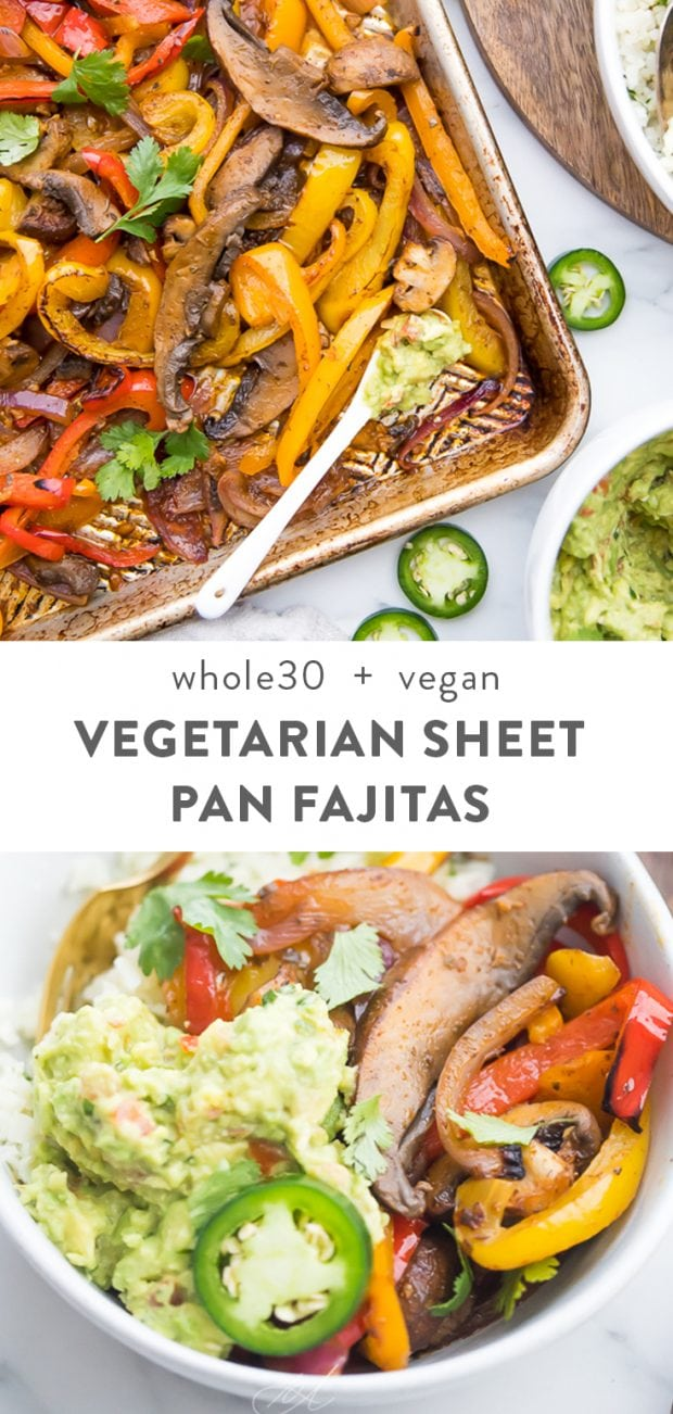 Vegetarian sheet pan fajitas Pinterest graphic