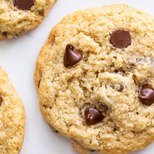 Close up of Almond flour chocolate chip cookies