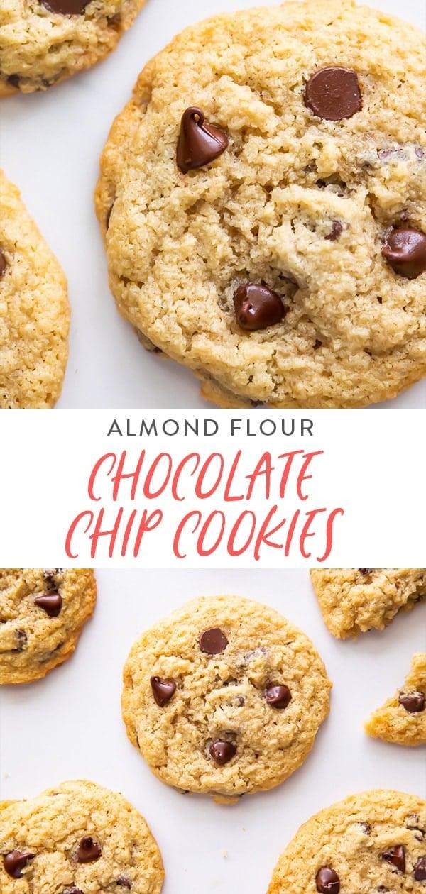 Almond flour chocolate chip cookies Pinterest graphic