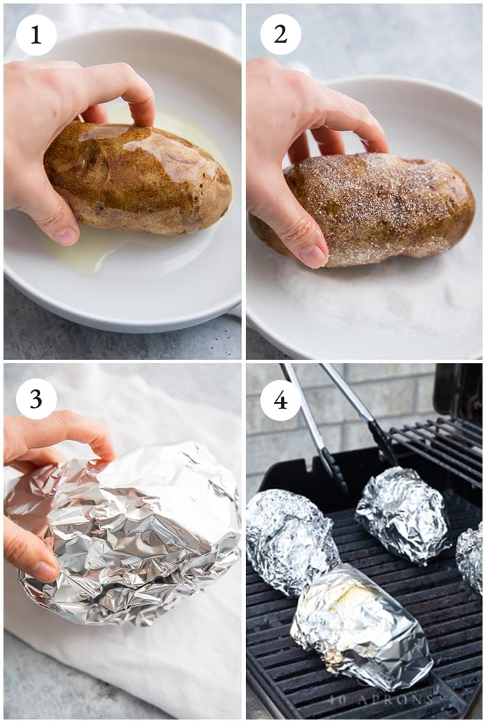 Baked potatoes on the grill instructions graphic