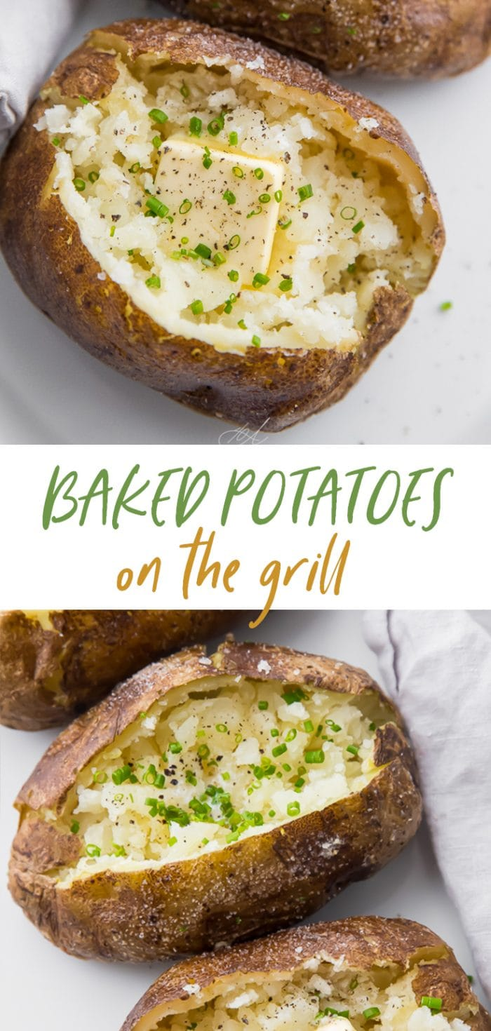 Baked potatoes on the grill Pinterest graphic