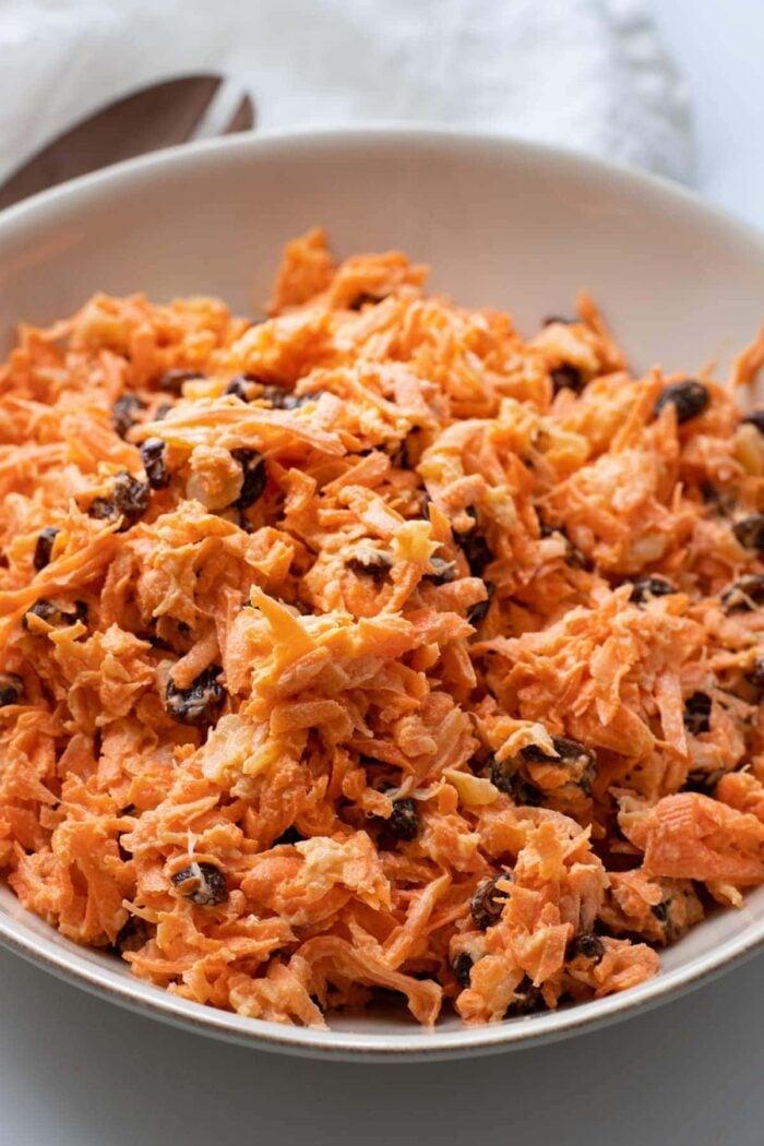 Close up of carrot raisin salad