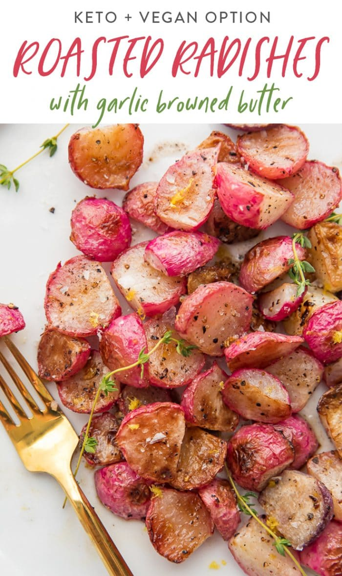 Roasted radishes with browned butter Pinterest graphic